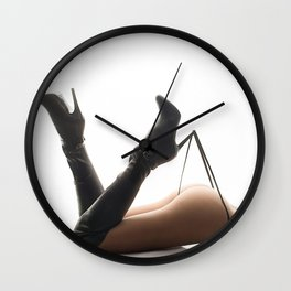 Sexy Woman Black Leather Boots and Thong Wall Clock