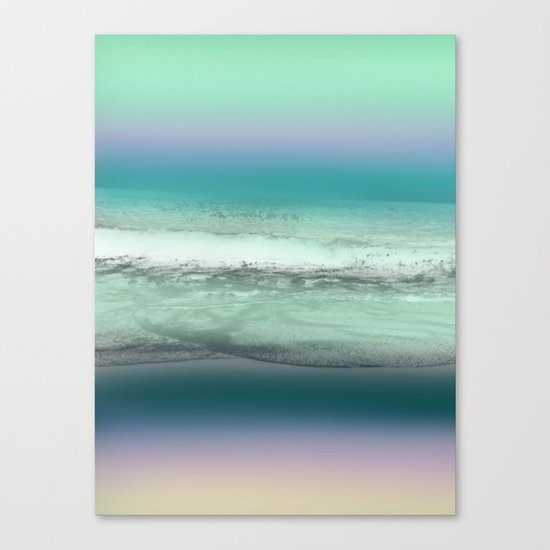 Twilight Sea in Shades of Green and Lavender Canvas Print