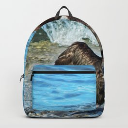 Cormorant Dries off in front of the Sea Backpack