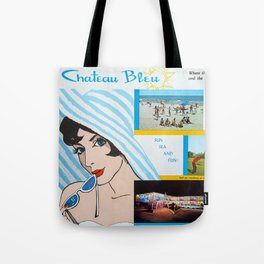 Chateau Bleu Motel, 1960's Retro Illustration & photographs from the motel's brochure. Tote Bag