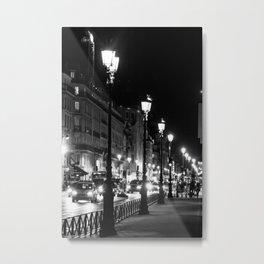 A view down the Rue de Rivoli outside of the Louvre Museum Metal Print