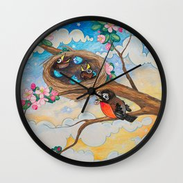 Spring: Mother Robin Wall Clock