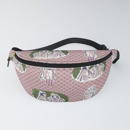 1950s ladies stylish outfit seamless vector pattern. Fanny Pack