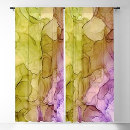 Green Purple Abstract 131 Alcohol Ink Painting by Herzart Blackout Curtain