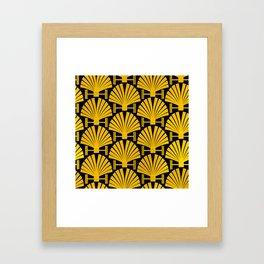 Art Deco Gold Palm Fan Pattern Framed Art Print