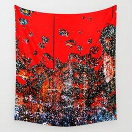 Red Door Rusting Black Wall Tapestry