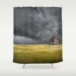 Thunderstorm on the Prairie with abandoned farmhouse Shower Curtain