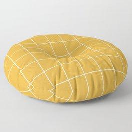 Yellow #9 Grid Stripe Lines Minimalist Geometric Line Stripes Floor Pillow