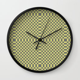 enVOGUE light yellow and medium grey checkerboard pattern Wall Clock