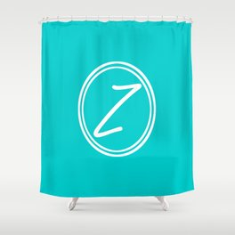 Monogram - Letter Z on Cyan Background Shower Curtain