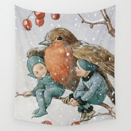 """""""Mr Robin Snow Shelter"""" by Margaret Tarrant Wall Tapestry"""