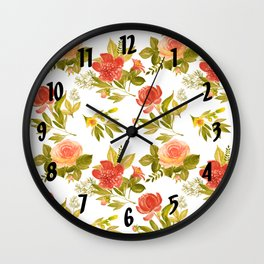 Roses and Peonies Floral Pattern Wall Clock