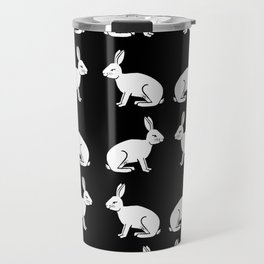 Black and white linocut rabbit drawing pattern inked minimal art animal spirit animals Travel Mug
