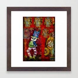 Dancing Fiddler Skeleton Framed Art Print