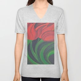 Red Tulip Diptych Unisex V-Neck