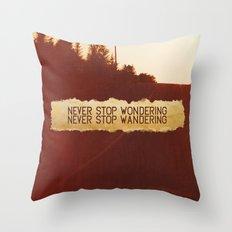 wonder + wander. Throw Pillow