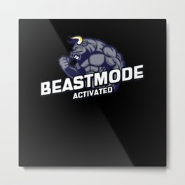 Beast Motivational quote fitness Metal Print