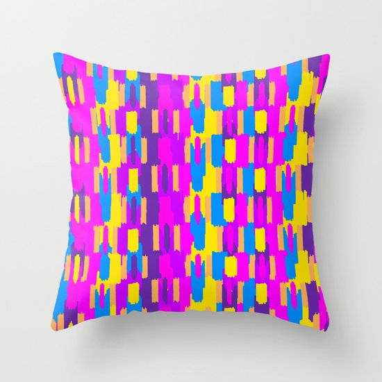 Neon Ikatarama Throw Pillow