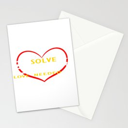 "Let's End Poverty! Let's Reflect On A Shirt Saying ""Solve Poverty Love Needed"" T-shirt Design Stationery Cards"