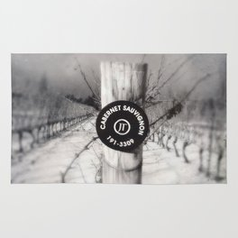 Cabernet - black and white wine photo vineyard Rug