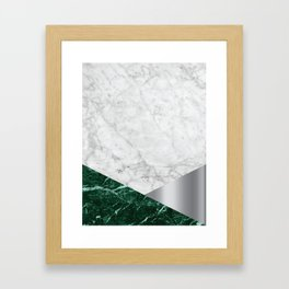 White Marble - Green Granite & Silver #999 Framed Art Print