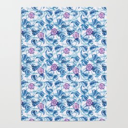 Ipomea Flower_ Morning Glory Floral Pattern Poster