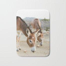 Two Donkeys Eating Apples Bath Mat