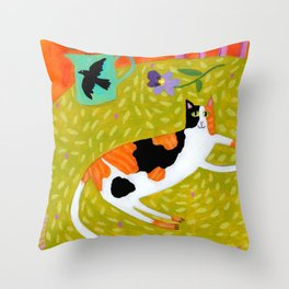 Calico Cat on table reproduction of original painting by Tascha Parkinson Throw Pillow