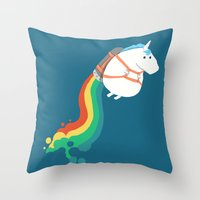 unicorn Throw Pillows featuring Fat Unicorn on Rainbow Jetpack by Picomodi