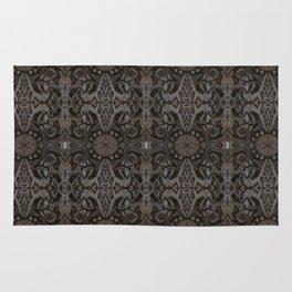 Curves & lotuses, black, brown and taupe Rug