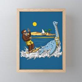 Bigfoot Riding Loch Ness Monster Conspiracy Framed Mini Art Print