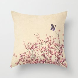Butterfly and Pink Blossoms Throw Pillow