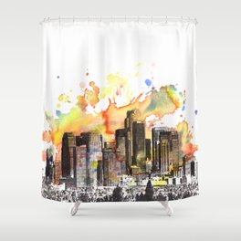 Los Angeles Cityscape Skyline Painting Shower Curtain