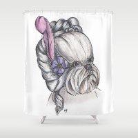 shih tzu Shower Curtains featuring 18th Century Shih-Tzu by Michelle J Poston
