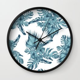 Tropical Palm Leaves Hibiscus Flowers Blue Wall Clock