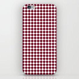 White and Burgundy Red Diamonds iPhone Skin