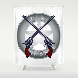 US Marshal Guns and Badge Shower Curtain