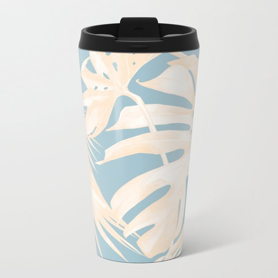 Island Vacay Hibiscus Palm Pale Coral Sky Blue Metal Travel Mug