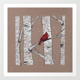 Cardinal in a Birch Tree Art Print