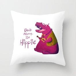 Hippie Hippo Throw Pillow