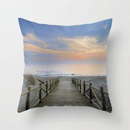 "The path..., the beach.... ""Artola"". Throw Pillow"