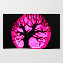 Happy halloweeN Brain Tree Hot Pink Rug