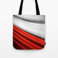 poland Tote Bags featuring flag of Poland by Lulla