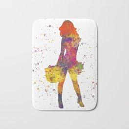 young woman Cheerleader Art Girl Poms Dance in watercolor 07 Bath Mat
