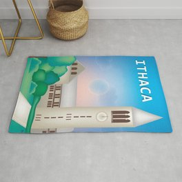 Ithaca, New York - Skyline Illustration by Loose Petals Rug