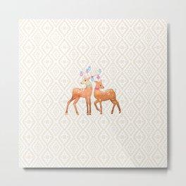 Watercolor Deer on Geometric Pattern Metal Print