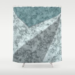 Combined abstract pattern .Green marble . Shower Curtain