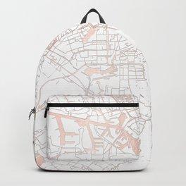 Amsterdam White on Rosegold Street Map Backpack