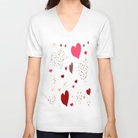burgundy V-neck T-shirts featuring Flying Hearts pink burgundy by NatalieCatLee