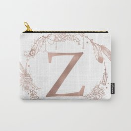 Letter Z Rose Gold Pink Initial Monogram Carry-All Pouch